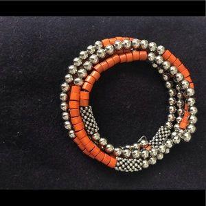 Jewelry - Silver beads and orange infinity bracelet